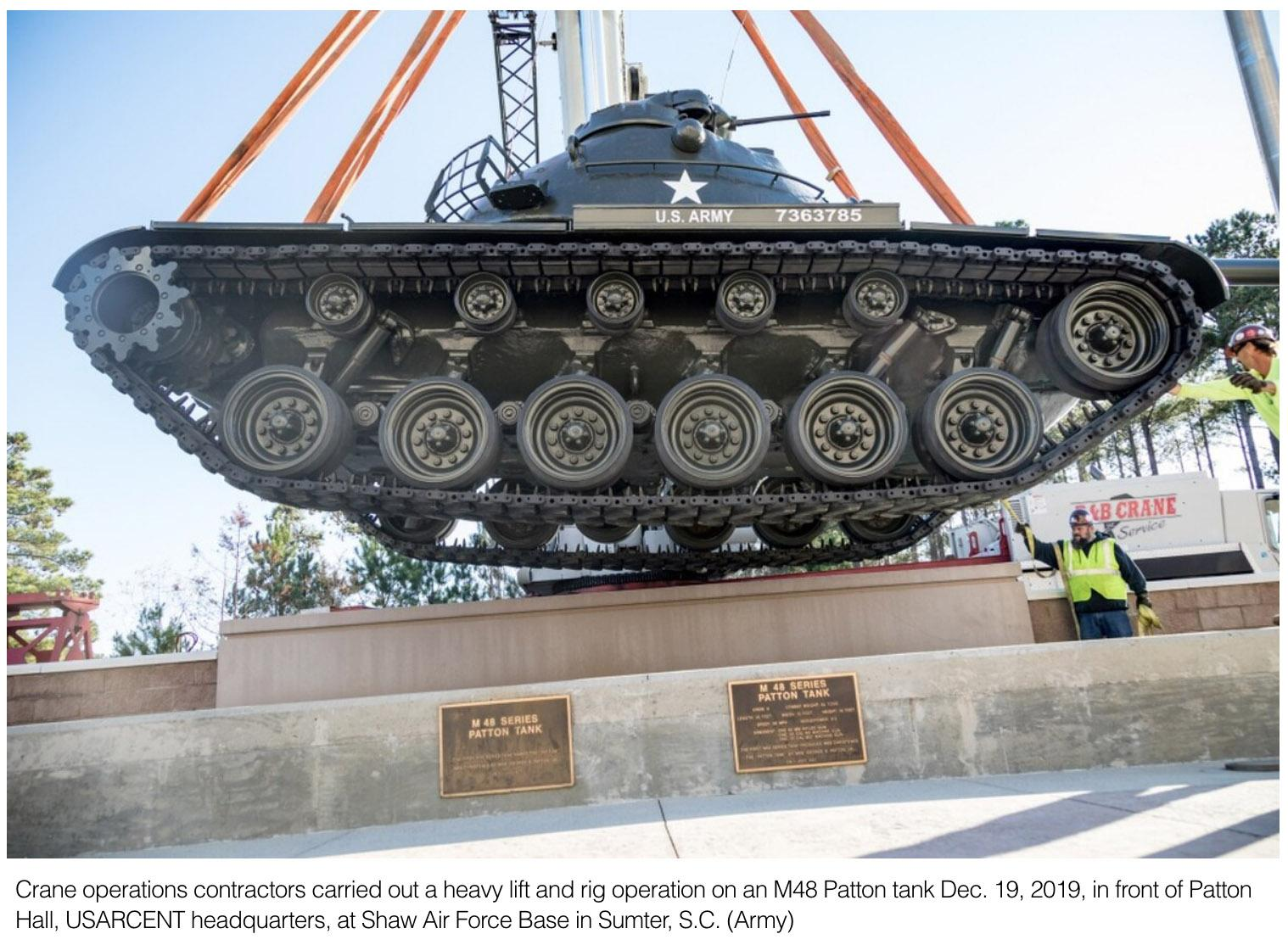 Patton tank back with fresh paint at Armys Central Command HQ at Shaw