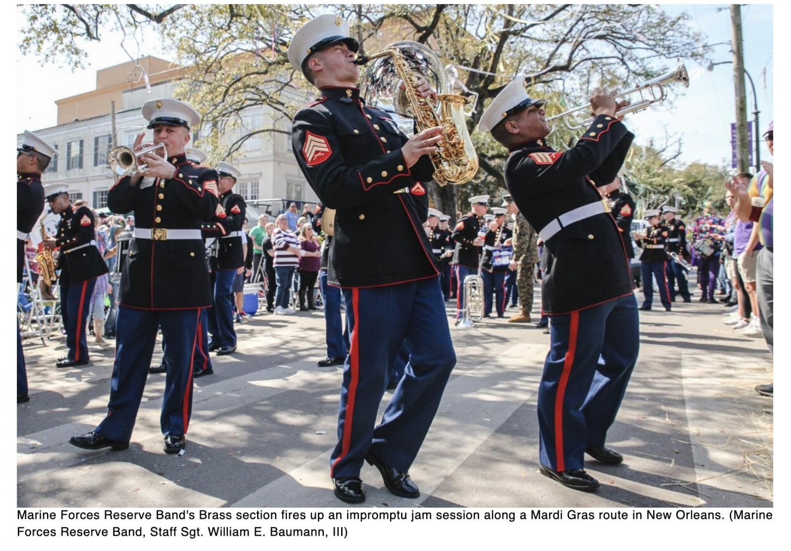 Marine Corps Forces Reserve Band once again takes the streets at New Orleans Mardi Gras