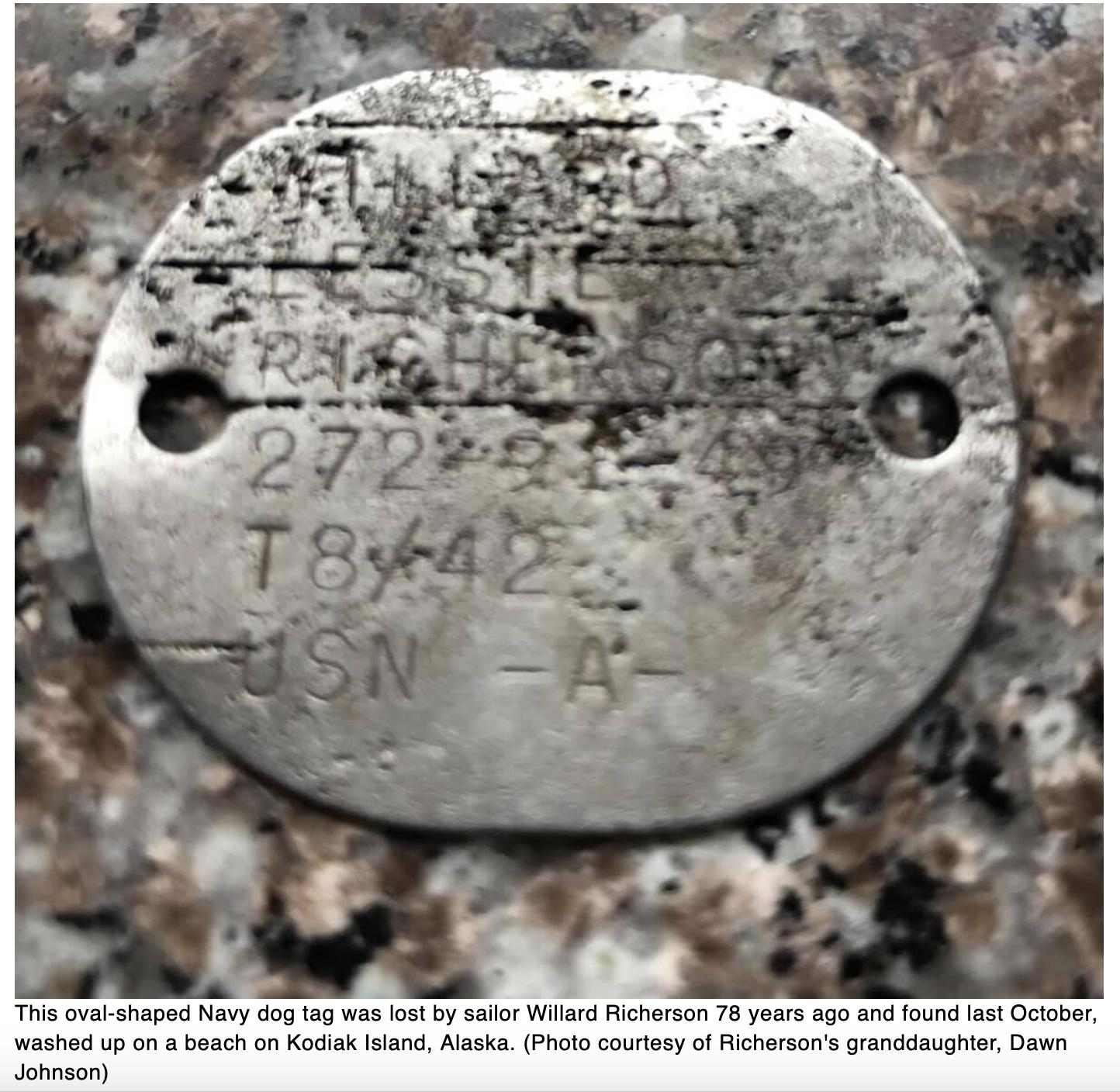 Woman hunting for sea glass in Alaska finds Navy dog tag lost during WWII