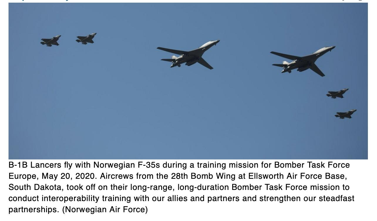 In a first, B-1s fly over Sweden for training