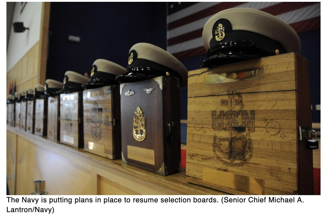 Selection boards to resume in July, Navy says