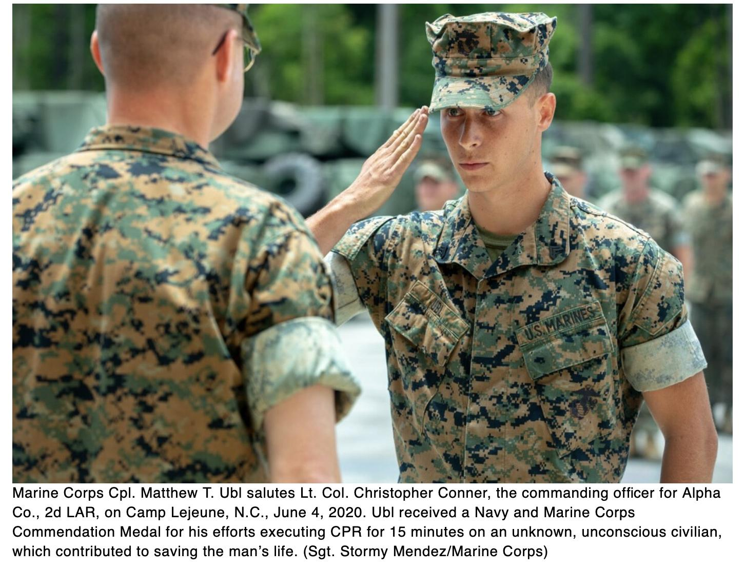 Marine recognized for performing CPR, saving life of unresponsive man at Walmart gas station