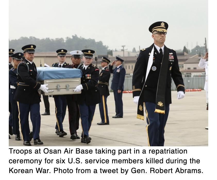 UN Command holds repatriation ceremony for 6 US service members killed during Korean War