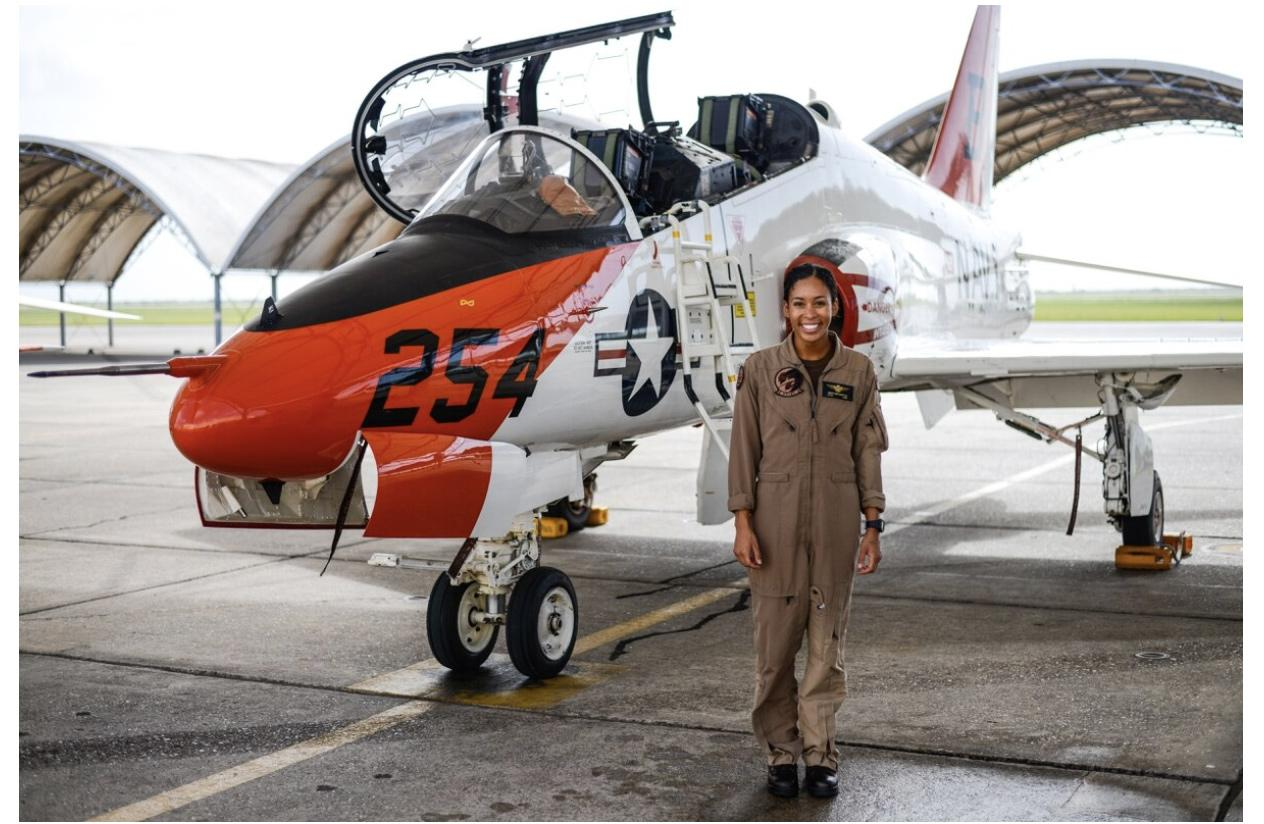 This officer is the Navys first known Black female tactical jet pilot