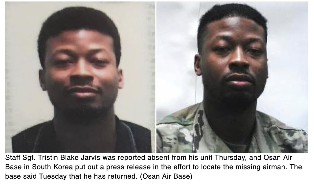 Missing Osan airman returns safely after five days