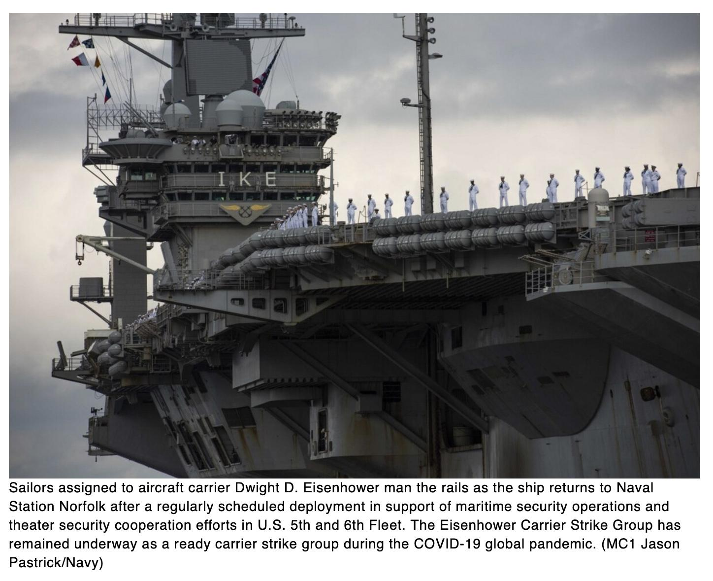Carrier Ike back in Norfolk following more than 200 consecutive days at sea