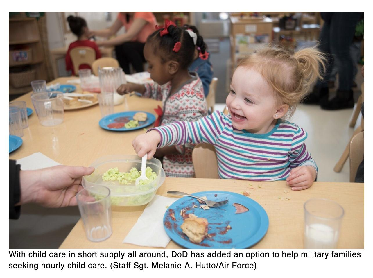 New DoD option helps military parents find hourly child care