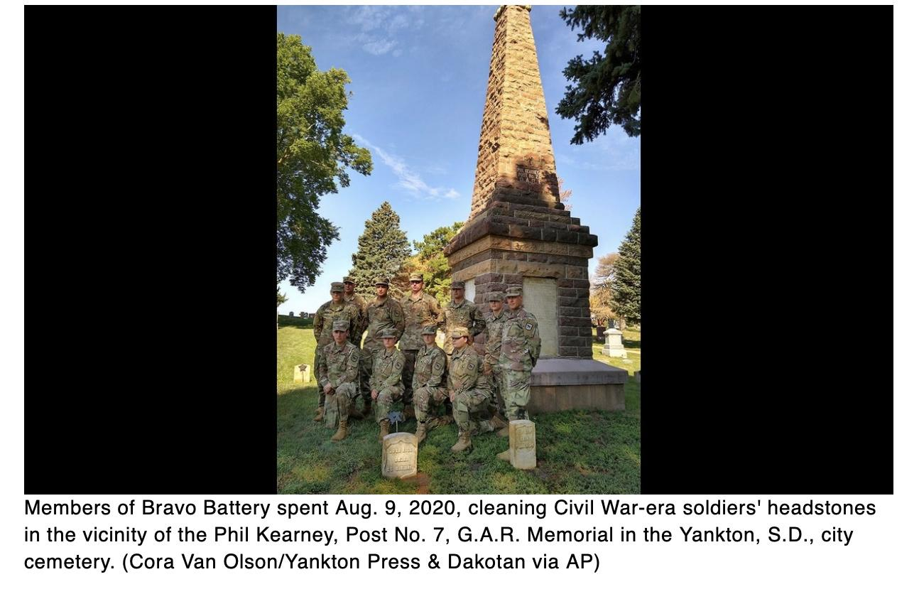 South Dakota Guardsmen honor Civil War dead by cleaning tombstones