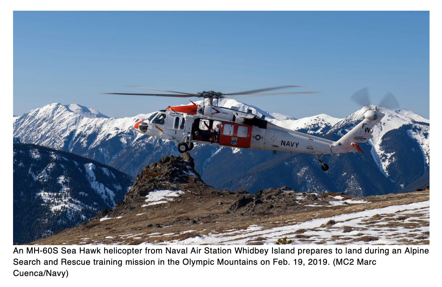 Navy helicopter team rescues hiker hurt in Olympic Mountains