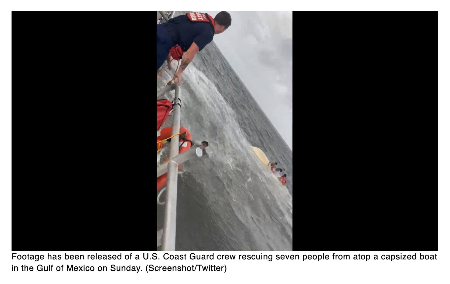 Watch the Coast Guard rescue seven people from a capsized boat