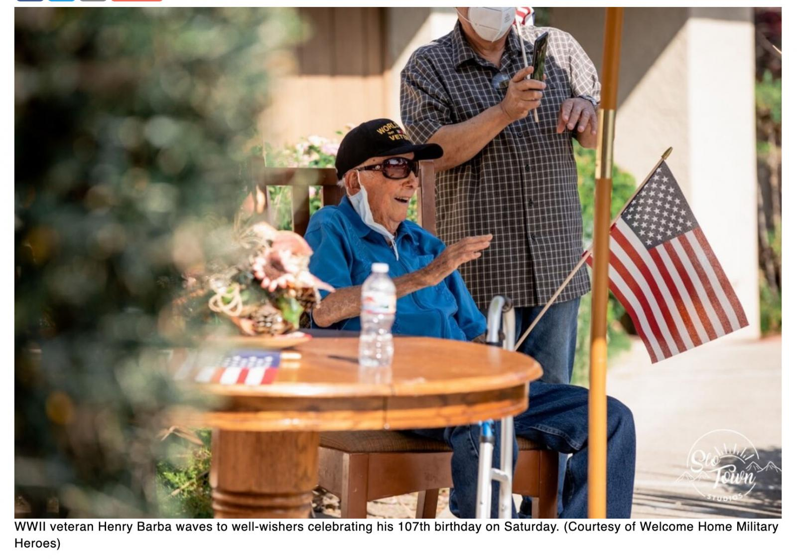 WWII vets 107th birthday brings parade of well wishers thanks to California nonprofit