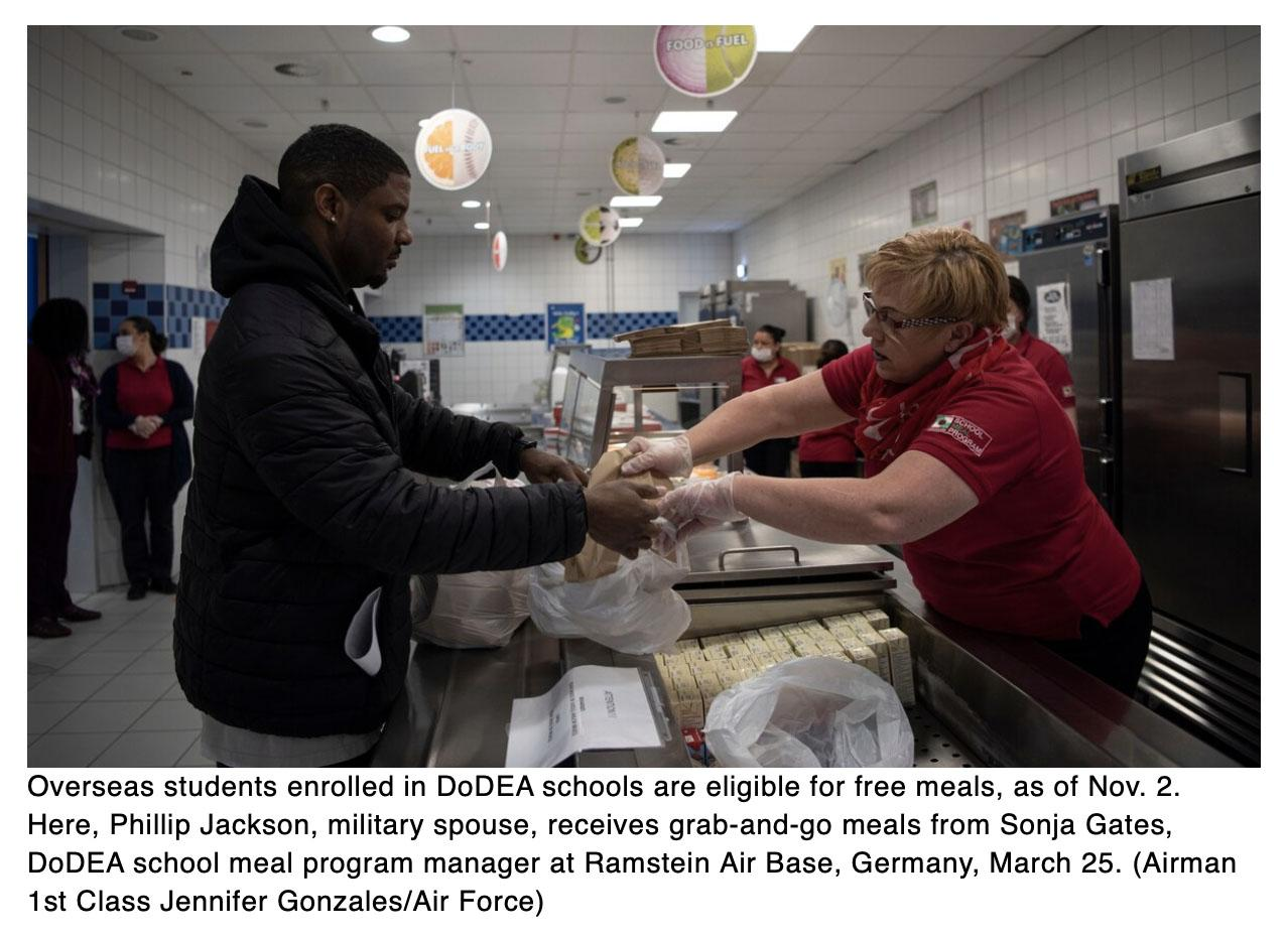 All overseas DoD school students will get free meals starting Nov. 2