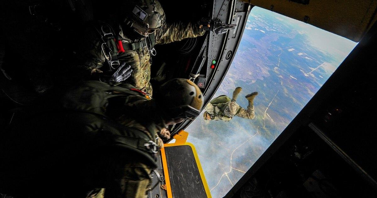 Special tactics airmen from the 24th Special Operations Wing jump out of an MC-130H Combat Talon II at Hurlburt Field, Fla., in January 2015. The 24th SOW's mission is to provide special tactics forces for rapid global e