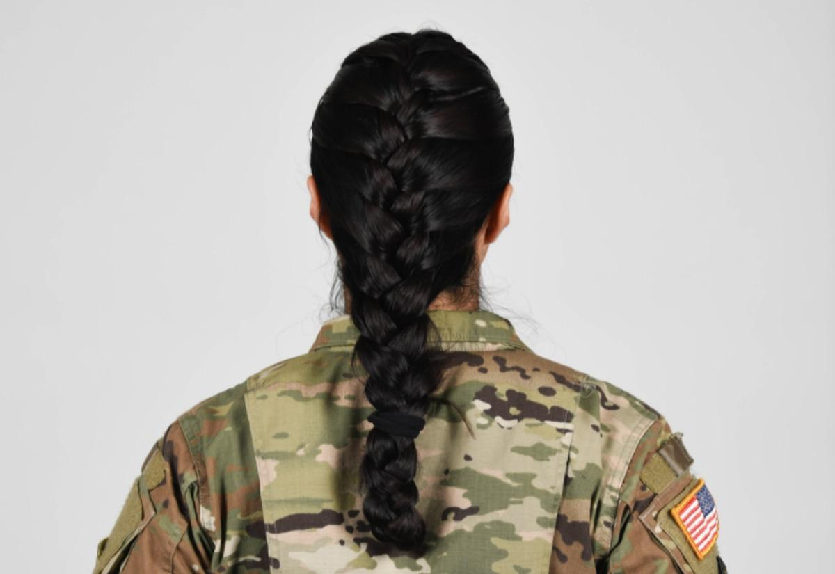 Thumbnail: U.S. Army soldier wearing new approved ponytail hair style. (Army)