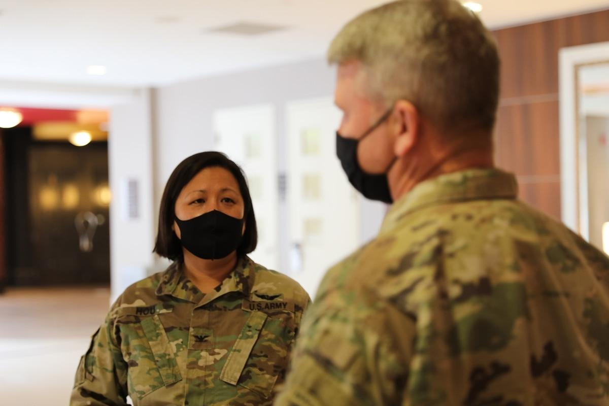 Thumbnail: U.S. Army Col. Lisa J. Hou, interim New Jersey adjutant general, speaks with Lt. Col. John T. Boyd in Washington on Jan. 15, 2021. (Staff Sgt. Devlin Drew/Army National Guard)